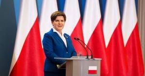 Beata Szydlo im Konferenzraum